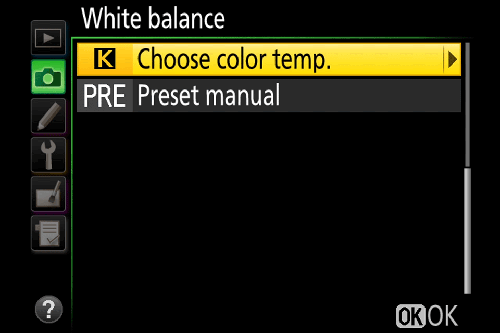 выбор баланса белого Nikon вручную
